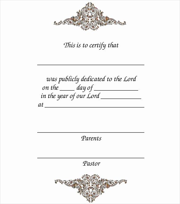 Baby Dedication Certificate Template Lovely Baby Dedication Certificate Template 21 Free Word Pdf