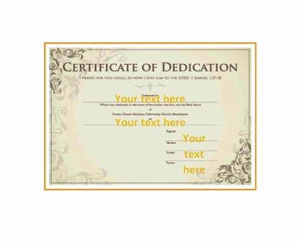Baby Dedication Certificate Template Luxury 50 Free Baby Dedication Certificate Templates Printable