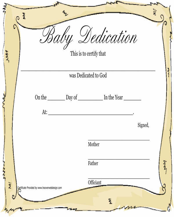 Baby Dedication Certificate Template New Download Baby Dedication Certificate for Free formtemplate