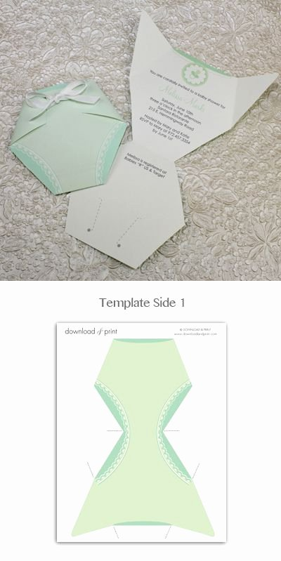 Baby Diaper Invitation Template Awesome Baby Shower Invitation Template Green Diaper