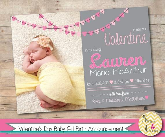 Baby Girl Announcement Template Beautiful Items Similar to Valentine S Day Baby Announcement Card
