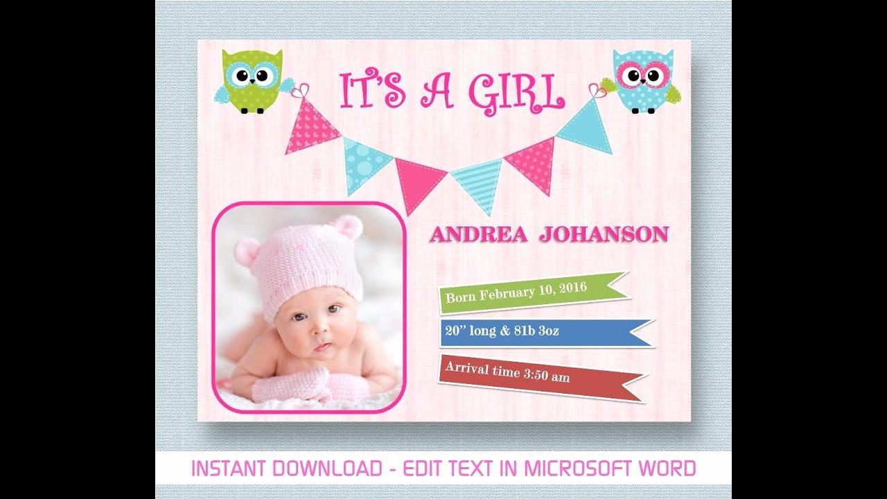Baby Girl Announcement Template Inspirational Baby Girl Announcement Creative Template