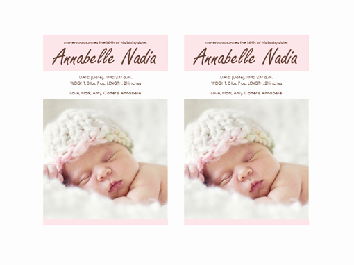 Baby Girl Announcement Template Inspirational Baby Girl Birth Announcement Templates Fice