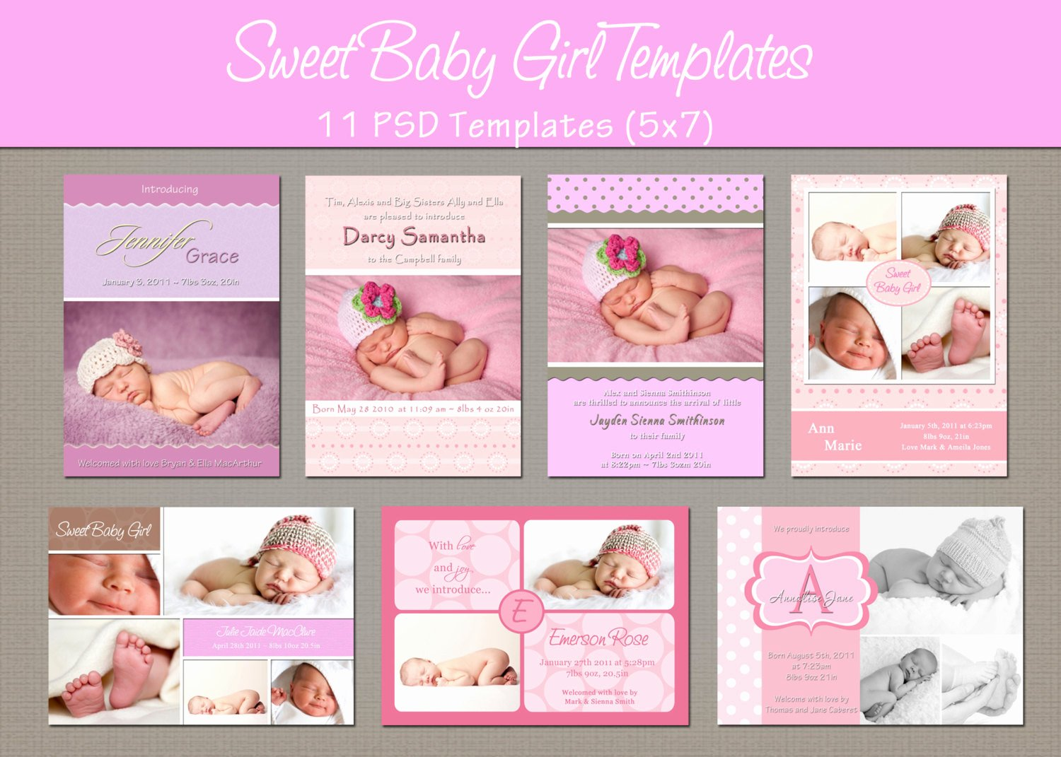 Baby Girl Announcement Template Inspirational Instant Download Birth Announcement by Whimsicalcreationspc