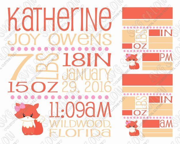Baby Girl Announcement Template Lovely Baby Girl Fox Birth Announcement Template Svg Cut File Set