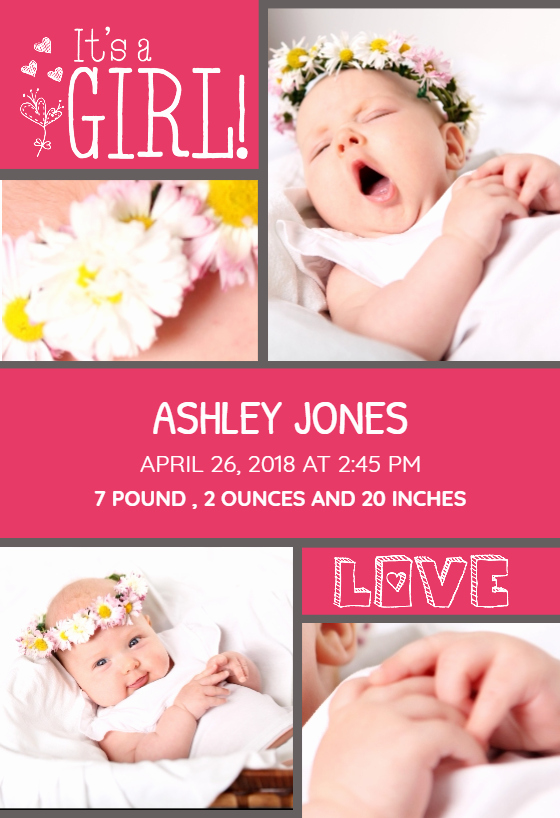 Baby Girl Announcement Template New Must Be Love Baby Girl Free Birth Announcement Template