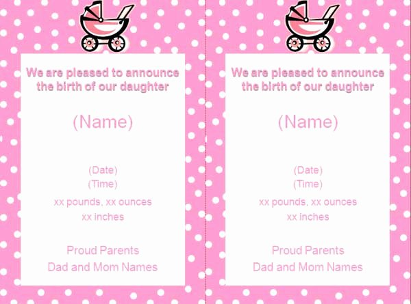Baby Girl Announcement Template Unique Free Baby Girl Birth Announcement Flyer Template Free