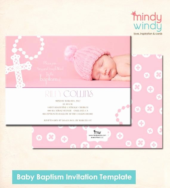 Baby Girl Announcement Template Unique Items Similar to Baby Girl Baptism Invitation Template On Etsy