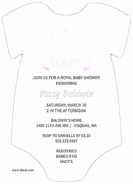 Baby Onesie Invite Template Awesome Baby Invitation Template Printable A Shower Invitations