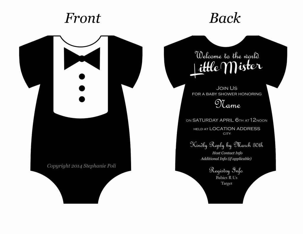 Baby Onesie Invite Template Luxury Baby Esie Invitation Template Yourweek Eca25e
