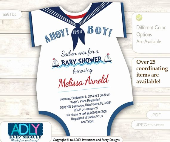 Baby Onesies Invitations Template Lovely Nautical Esies Baby Shower Invitation for A Baby Boy In Navy
