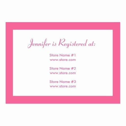 Baby Registry Card Template Inspirational Stork Baby Shower Registry Card Pink Business