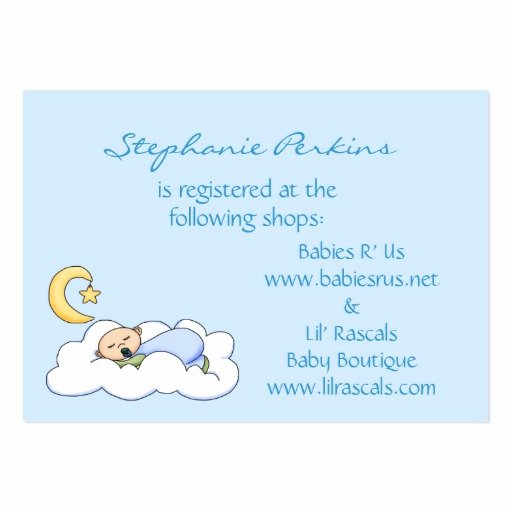 Baby Registry Card Template Inspirational Sweet Dreams Baby Registry Cards Business Cards