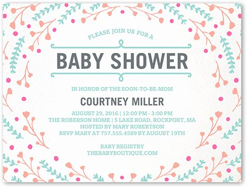 Baby Registry Card Template Luxury Floral Swirl 4x5 Baby Shower Invitations