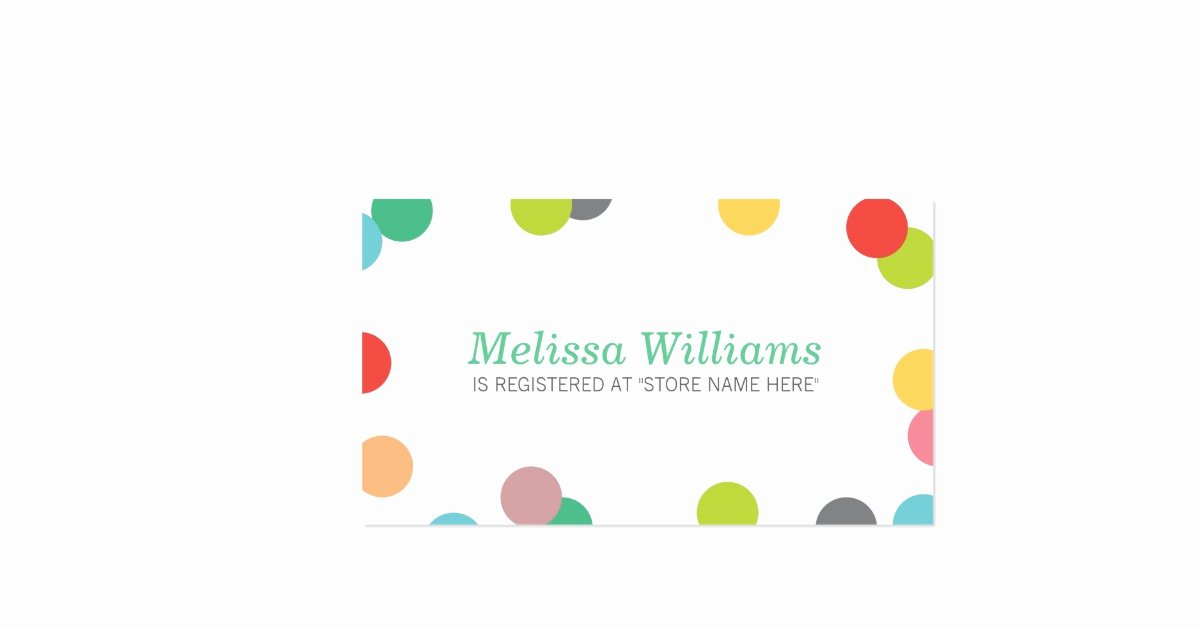Baby Registry Card Template Unique Rainbow Confetti Baby Shower Registry Insert Card Double