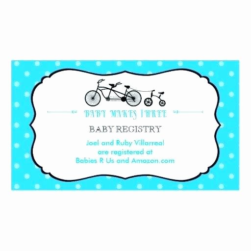 Baby Registry Card Template Unique Registry Business Card Templates for Baby Shower Inserts