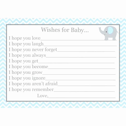 Baby Registry Cards Template Awesome Baby Wish Cards Template Wishes for Baby Boy Printable
