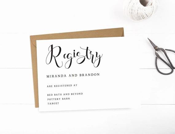 Baby Registry Cards Template Elegant Wedding Registry Cards Baby Registry Card Gift Registry Card