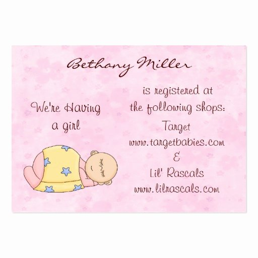 Baby Registry Cards Template Lovely Sleeping Baby Gift Registry Card