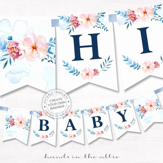 Baby Shower Banner Template Best Of Printable Floral Banner Template Couples Baby Shower