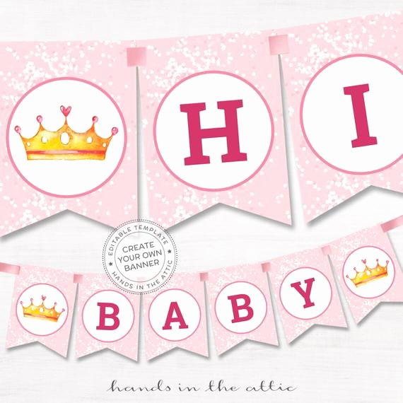 Baby Shower Banner Template Elegant Diy Banner Pink Baby Shower Template Editable Name Garland