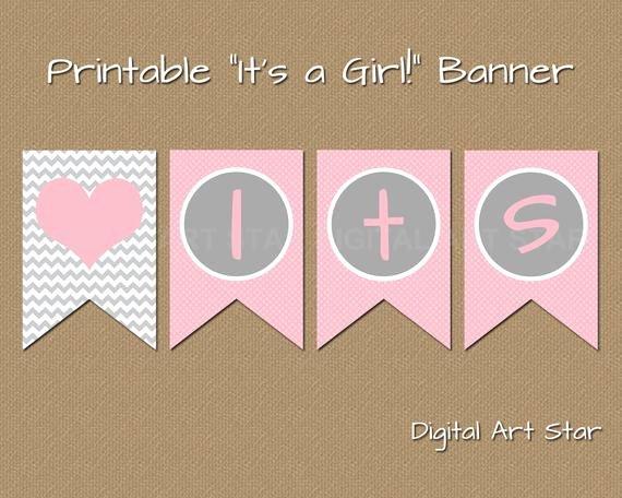 Baby Shower Banner Template Fresh Printable Baby Shower Banner Diy Its A Girl Banner Pink