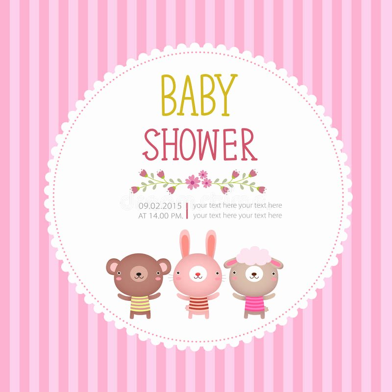 Baby Shower Card Template Beautiful Baby Shower Invitation Card Template Pink Background