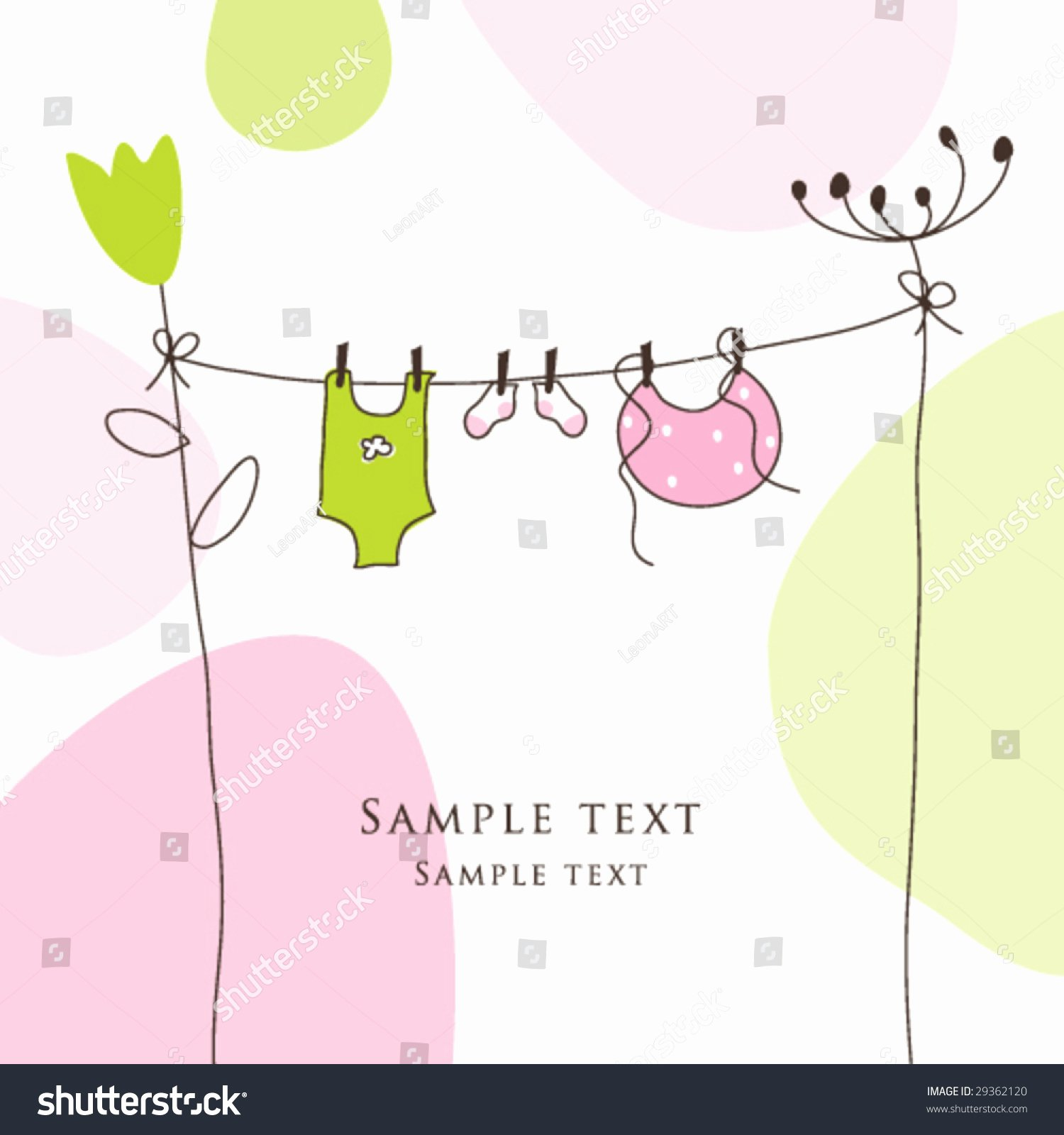 Baby Shower Card Template New Baby Shower Card Copy Space Simple Unique Stock Vector