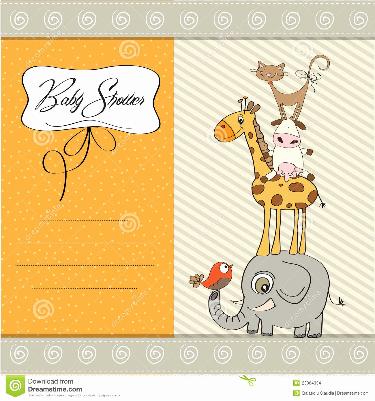 Baby Shower Card Template Unique Baby Shower Template Card Stock Image