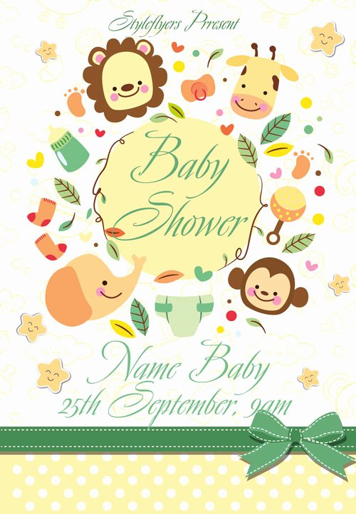 Baby Shower Flyer Template Awesome Baby Shower Free Flyer Template Download for Shop
