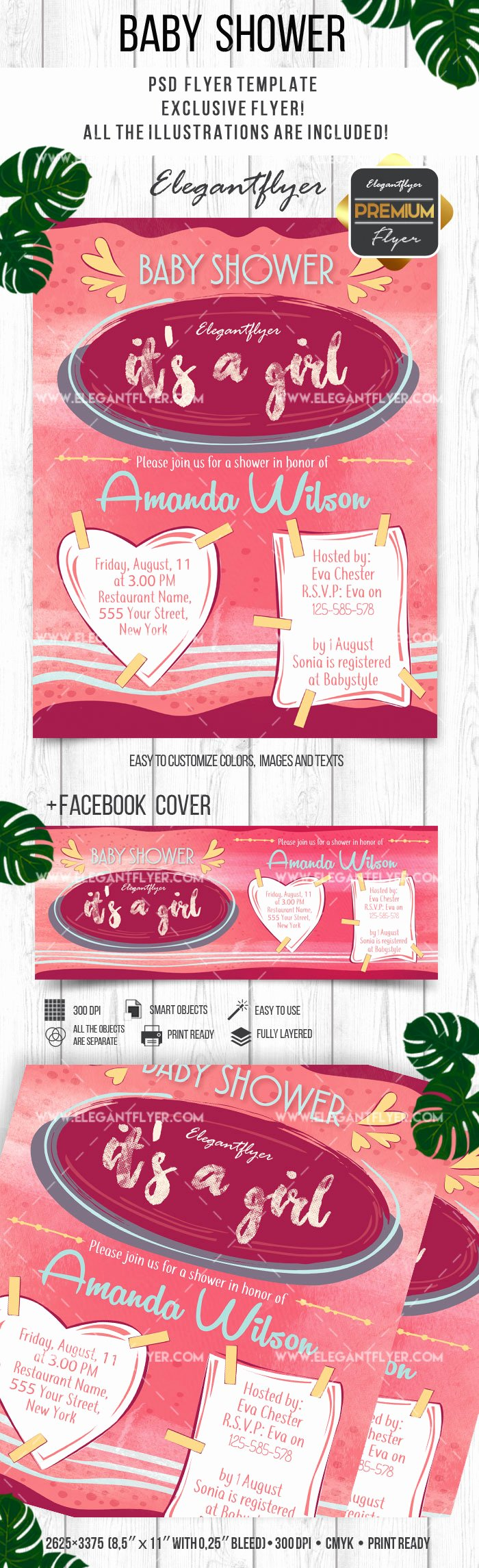 Baby Shower Flyer Template Beautiful Baby Shower Invitations for Girls Psd Flyer – by Elegantflyer
