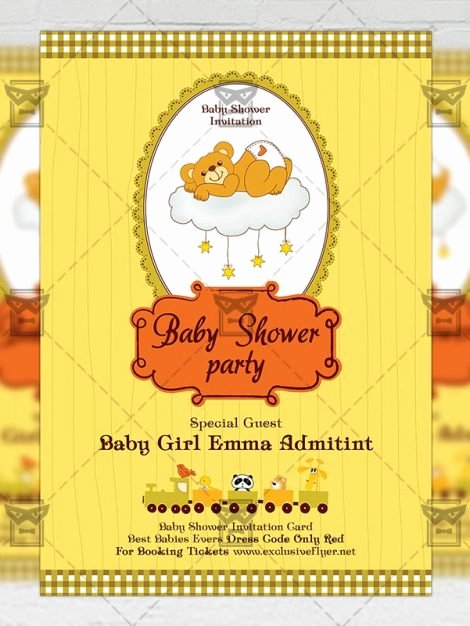 Baby Shower Flyer Template New Baby Shower Party – Kids A5 Flyer Template