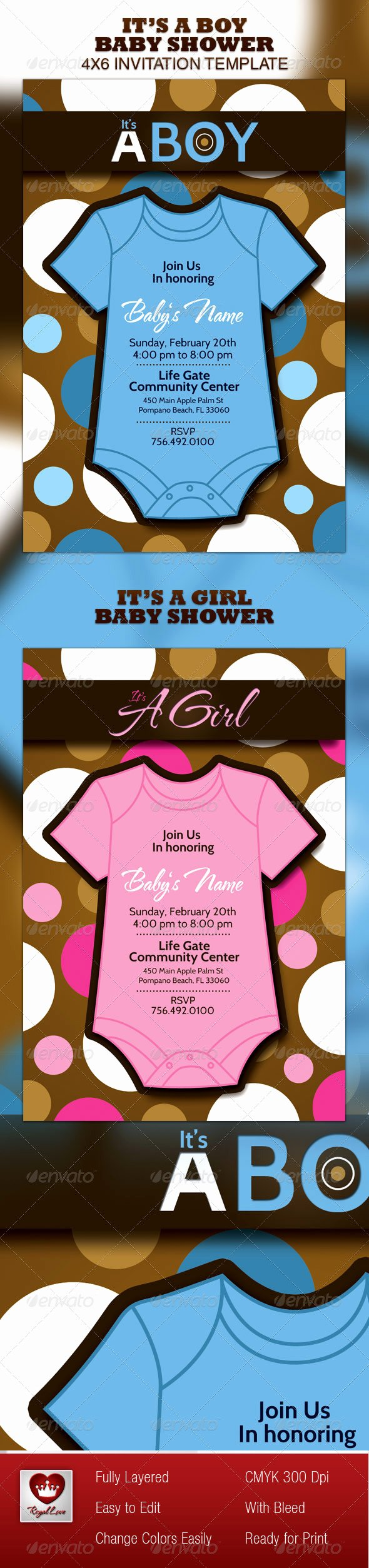 Baby Shower Menu Template Beautiful Boy & Girl Baby Shower Invitation Template by Royallove