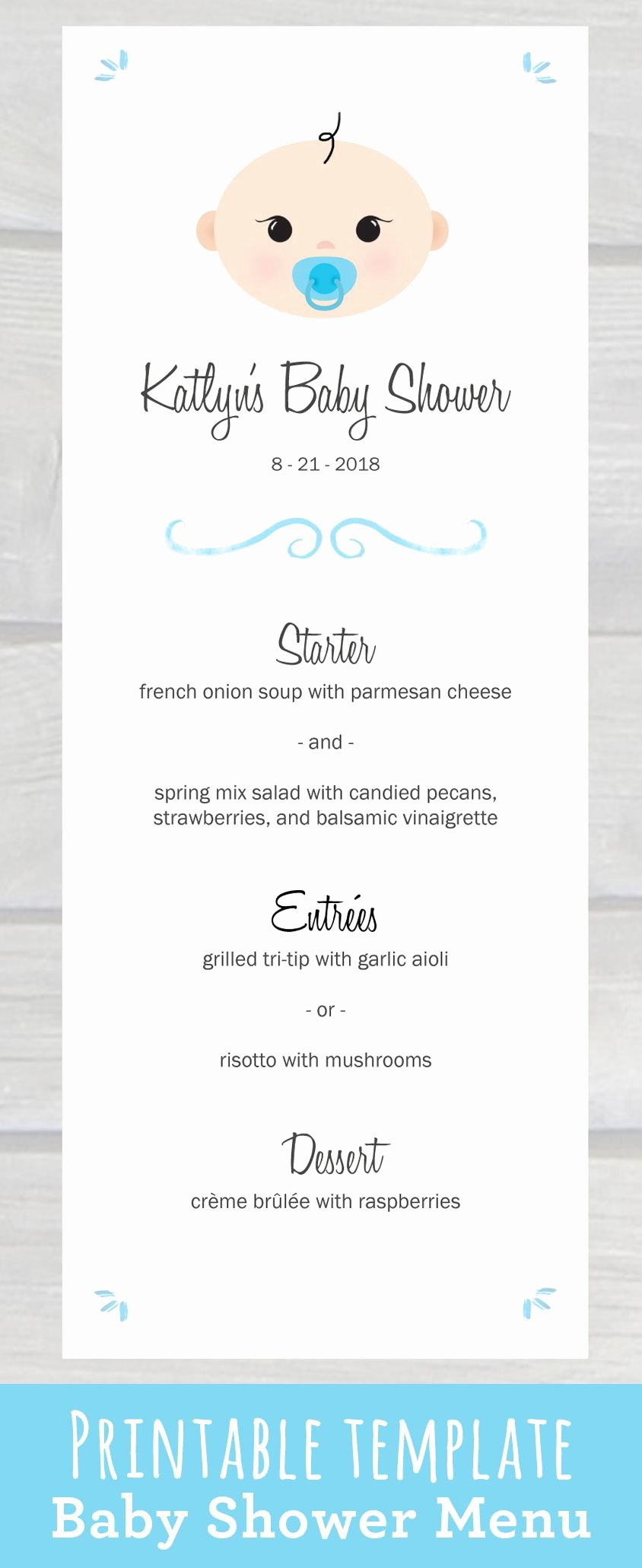 Baby Shower Menu Template Beautiful Use This Cute Baby Shower Menu Template Pdf to Edit