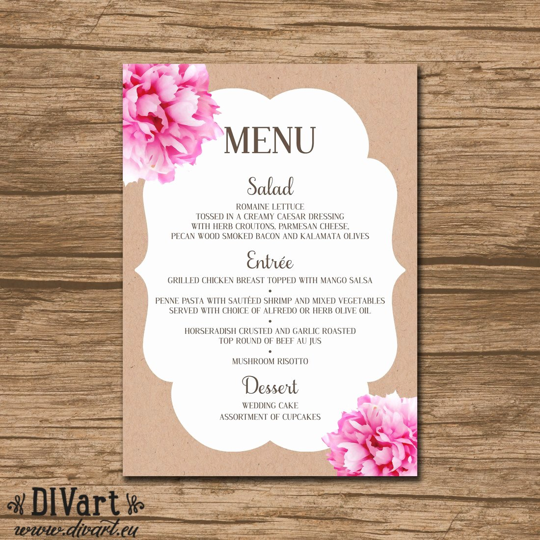 Baby Shower Menu Template Best Of Floral Bridal Shower Menu Baby Shower Menu Rehearsal by Divart