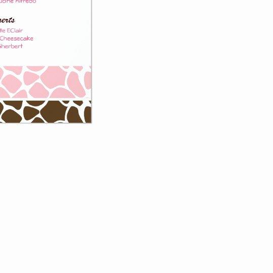 Baby Shower Menu Template Inspirational Jungle Giraffe Pink Custom Baby Shower Menu Card