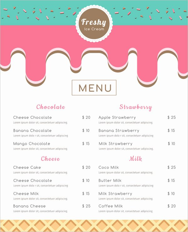 Baby Shower Menu Template New 39 Menu Card Templates Free Sample Example format