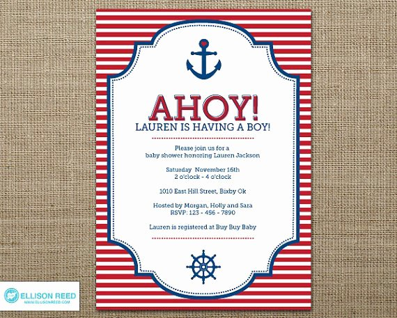 Baby Shower Menu Template Unique Free Printable Nautical Baby Shower Invitations