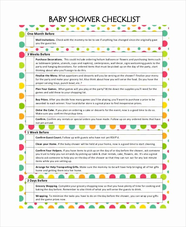 Baby Shower Planner Template New Baby Shower Checklist 5 Free Pdf Psd Documents