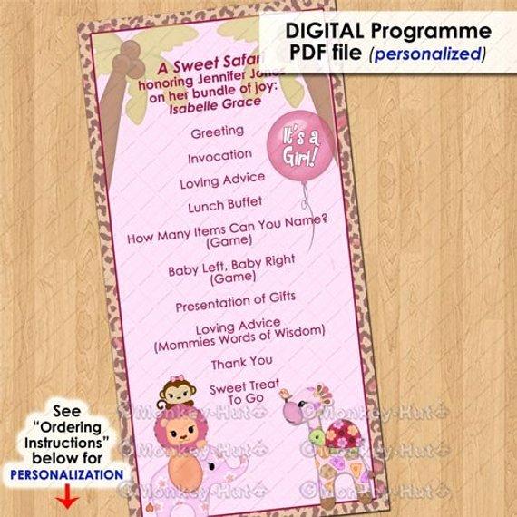 Baby Shower Program Template Beautiful Sweet Safari Party event Programme Program Girls Baby