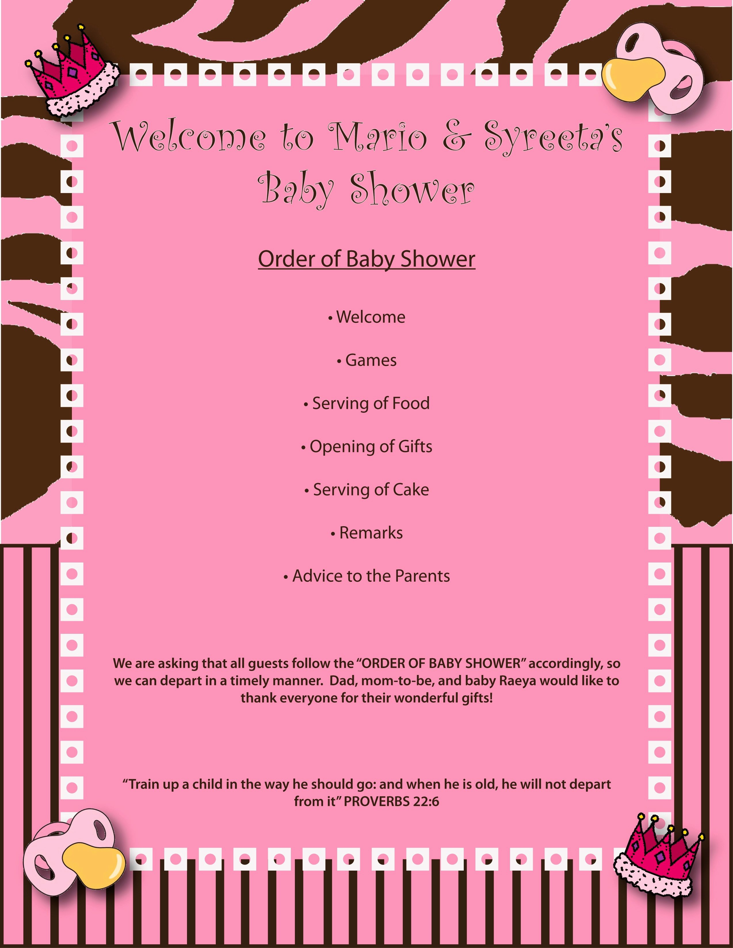 Baby Shower Programs Template Best Of Baby Shower Agenda Template Mughals