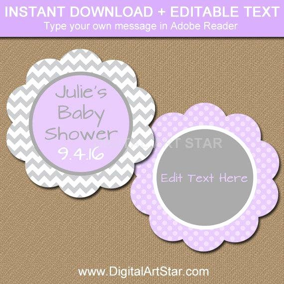 baby shower tags printable lavender grey