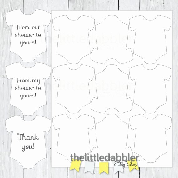 Baby Shower Tags Template Beautiful Baby Shower Mini Esie Favor Thank You Gift Tag Template