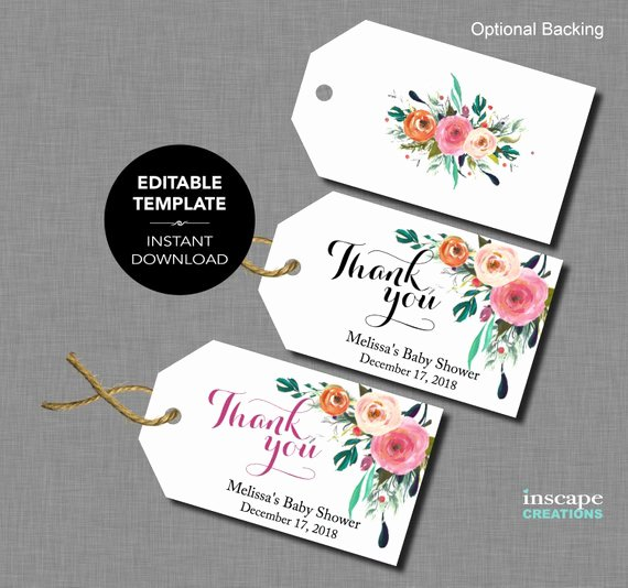 Baby Shower Tags Template Best Of Editable Baby Shower Favor Tags Editable Template Thank