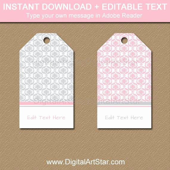 Baby Shower Tags Template Best Of Pink and Gray Baby Shower Thank You Tags Bridal Shower