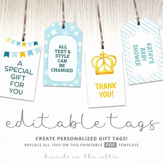 Baby Shower Tags Template Elegant Printable Baby Shower T Tags Editable Party Favor