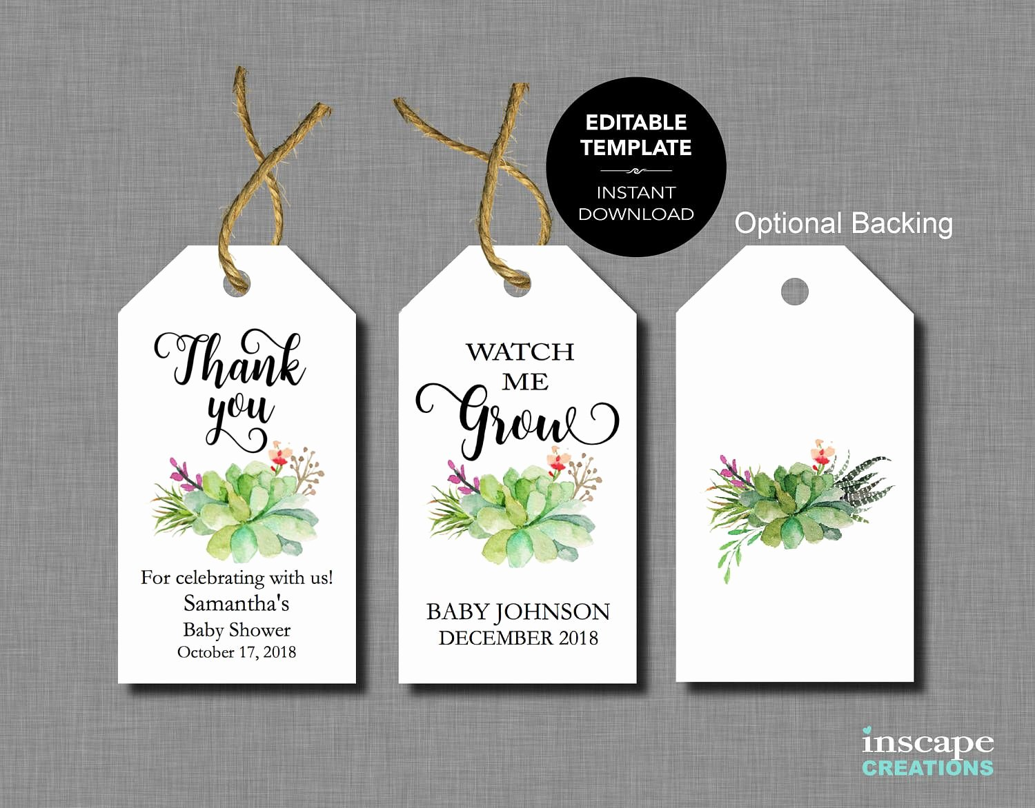 Baby Shower Tags Template Inspirational Baby Shower Favor Tags Editable Template Succulents Watch