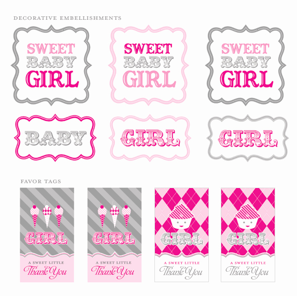 Baby Shower Tags Template Lovely Free Printables Vintage Sweet Shoppe Baby Shower Pink
