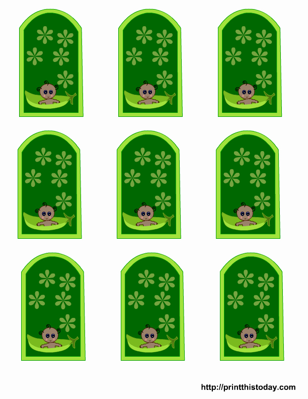 Baby Shower Tags Template New Free Pea Pod Baby Shower Favor Tags Templates