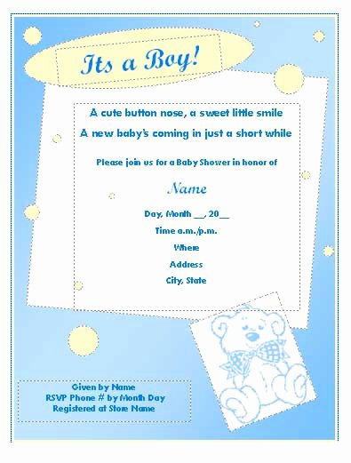 Baby Shower Template Word Fresh Baby Shower Invitation Publisher Templates Microsoft
